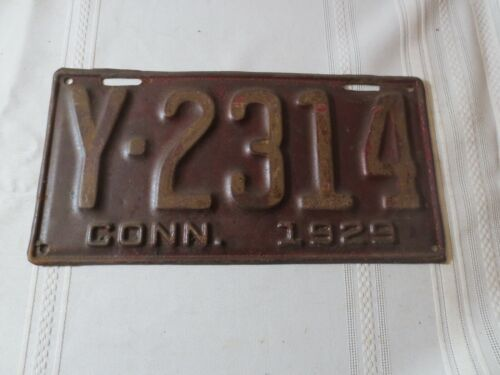 1929 CONNECTICUT LICENSE PLATE Y-2314