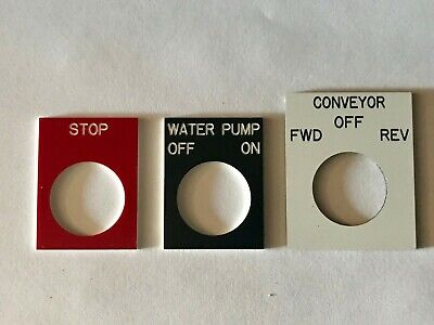 Engraved Pushbutton Legend Plate - 22mm - Choose Text Color And Size