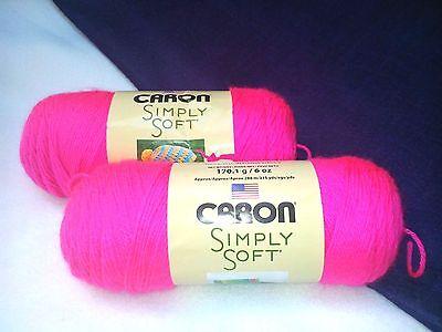 Neon Yarn (NEW Caron Simply Soft Yarn Knit Crochet (2) 6 oz Skeins Acrylic NEON)