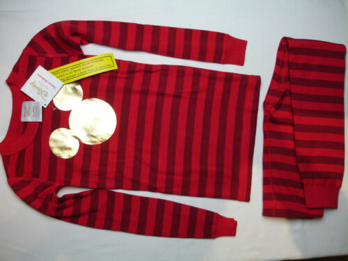 NWT Hanna Andersson DISNEY GOLD MICKEY MOUSE RED STRIPE LONG JOHN PAJAMAS 6-7, 8