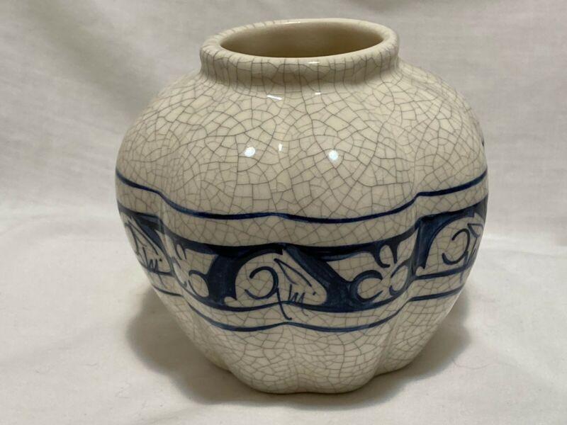 """Dedham Rabbit Crackleware Blue vase 4"""" diam x 3"""" tall 1994 Signed"""