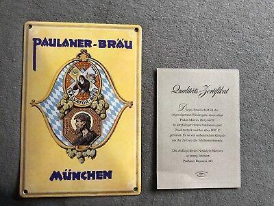 Emailleschild, Paulaner Brauerei München