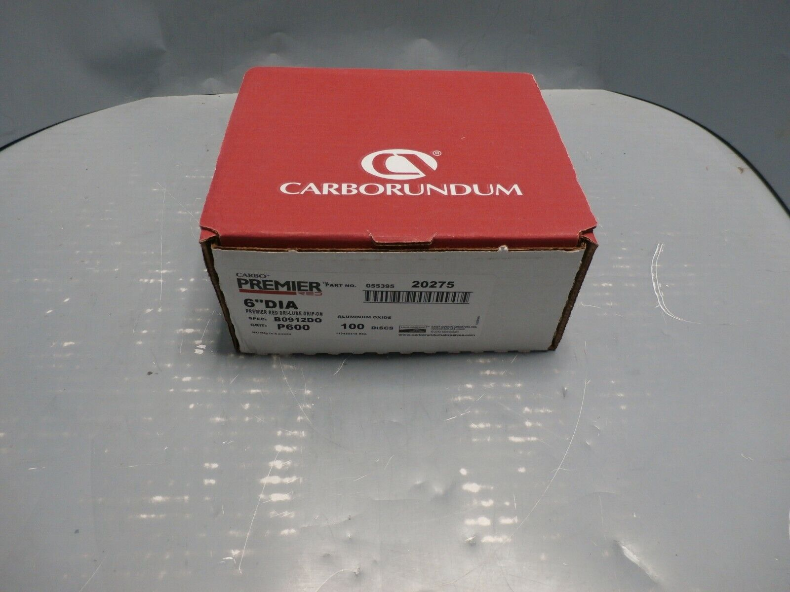 """New Carbo Premier RED 6"""" 600 Grit A/O Grip-On Sanding Discs 20275 X100 Pack"""
