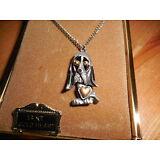 Vintage 14K Solid Gold 3D Heart Dog Puppy Charm Pendant Necklace NOS