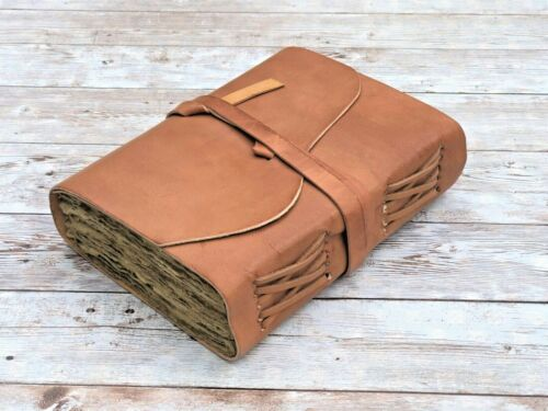 Genuine Leather Vintage Journal Deckle Edge Paper Handmade Leather bound Journal