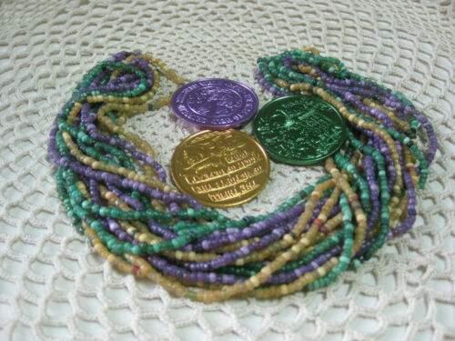 #23-From a New Orleans Mardi Gras Parade-Glass Carnival Beads & Doubloons