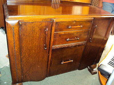 Sideboard Art Deco Vintage Oak Veneer with Drawers