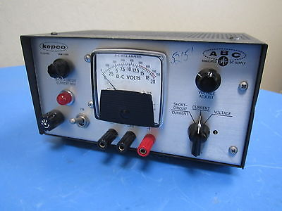 Kepco Abc 18-0.5 M Regulated Dc Power Supply 0-20 Dc Volts