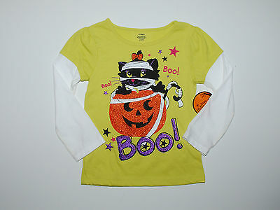 Langarmshirt~USA~98-104~Katze~Pullover~Glitter~Halloween~grün~Kürbis~neu~Amerika