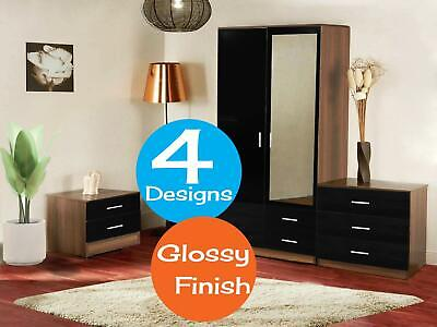 Glossy Bedroom Furniture 3 Piece Set Matt Wardrobe Drawer Bedside Chest Table