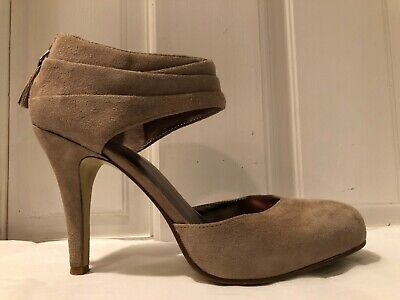 Nine West Garinoo Tan Suede Ankle Wrapped Women's HIgh Heel Pumps Size 6 Tan Suede High Heel Pumps