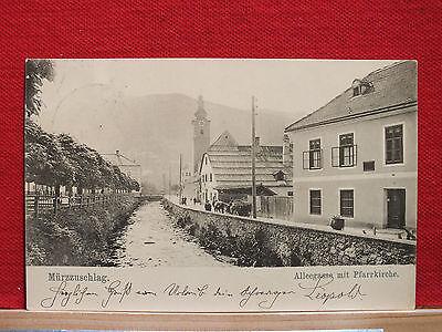 Fotokarte - Mürzzuschlag - Alleegasse mit Pfarrkirche - gel. 1907 - Steiermark