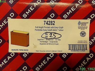 Smead Easy Grip File Pocket Legal 3 12 Exp. Redrope 25box 74282 - New