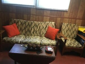 Sofa with covers and coffee table