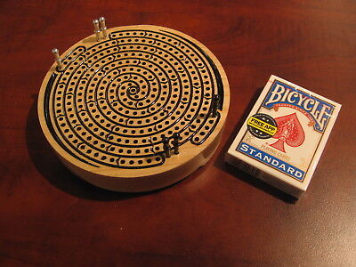 Spiral Cribbage Board with Card and Peg Storage - Great for Travel
