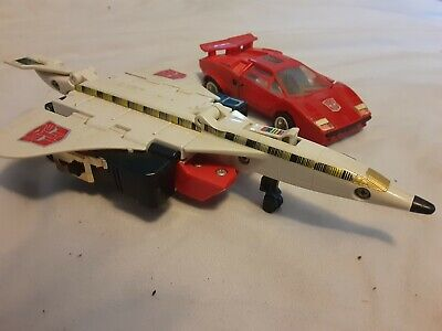 Transformers G1 Super Countach LP 500s Sideswipe and 1985 Hasbro Takara Jet