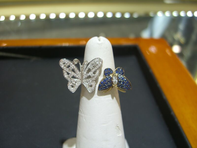 Fine Two Tone Womens Butterfly Diamond Ceylon Sapphire Ring 14 Karat Hand Made!