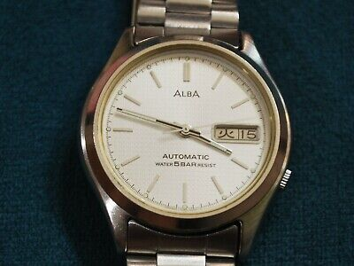 Nice Vintage ALBA by SEIKO Y622 17J Automatic Men's Watch w/Date /Day