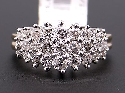 New 14k Yellow White Gold 1ct Round Cut Diamond Cluster Dome Band RingSize 6.5