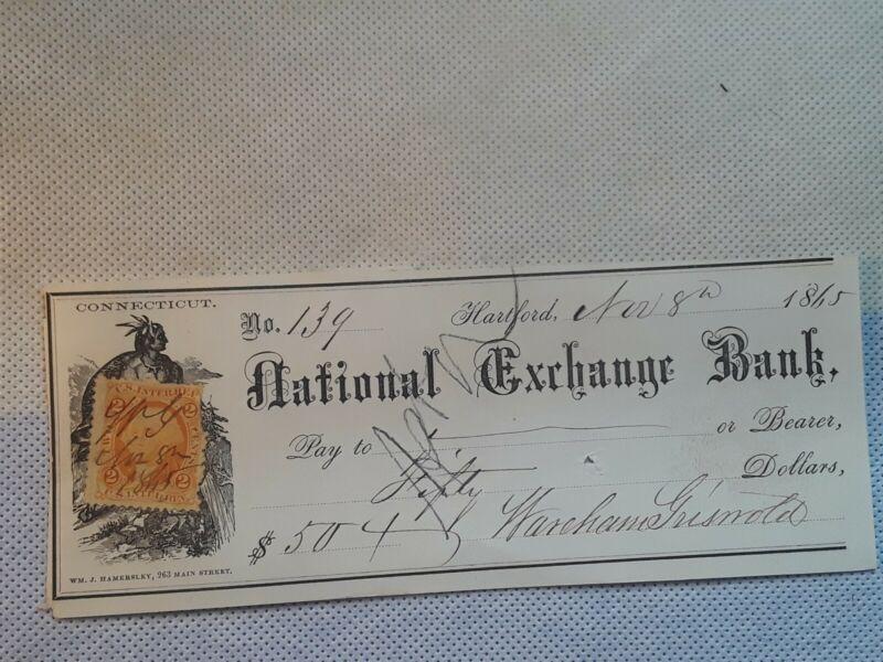 Bank Check, National Exchange Bank  1865 Beautiful vignette and KOOL Stamp