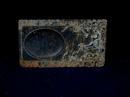 OLD HAND CARVED MINIATURE INKSTONE