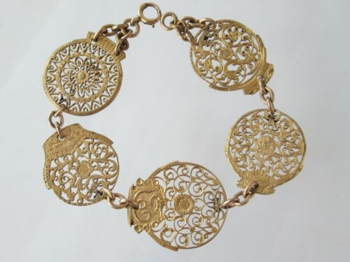 Antique Victorian Gold Gilt Verge Fusee Watch Cock Floral Pinchbeck Bracelet