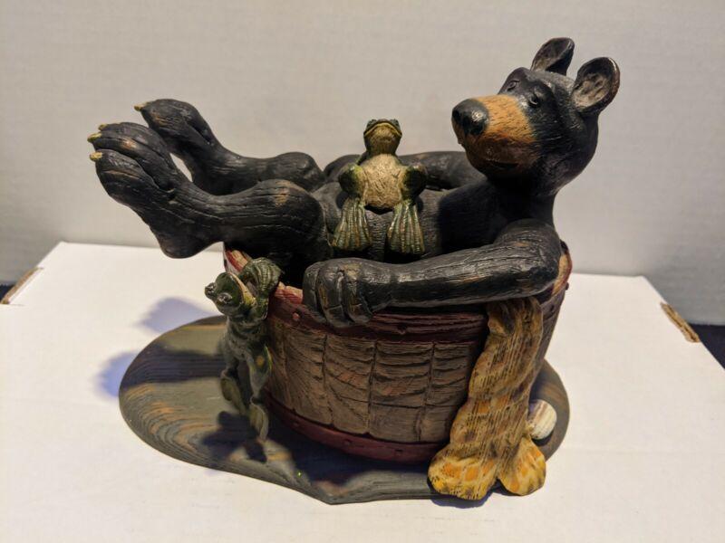 Vintage American Chestnut Folk Art A M111 Bear And Frog In Barrel Tub  large fig