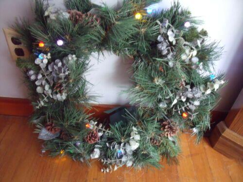 "Illuminated 16"" Battery Operated Wall Door Eucalyptus Pine Cone Wreath QVC"