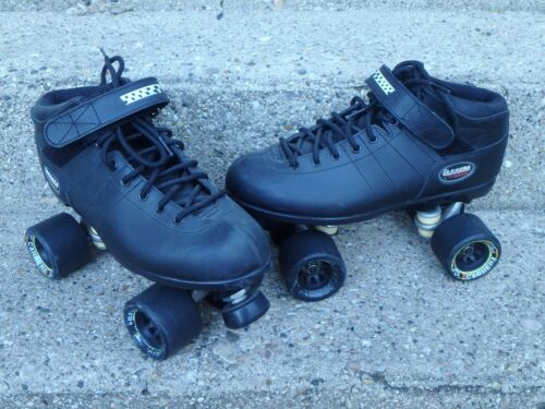 RIEDELL CARRERA SPEED ROLLER SKATES   105B #2   SIZE 10  BLACK LEATHER