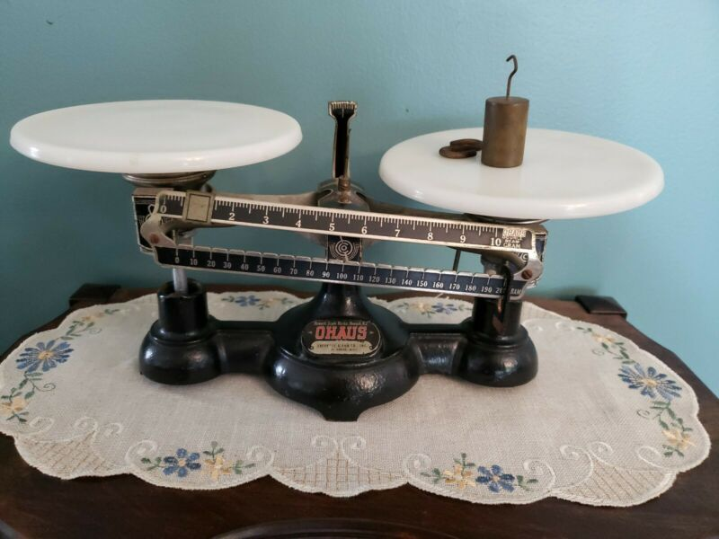 Ohaus Antique/Vintage Scale Marked Eberbach & Son, Ann Arbor MI with 100g weight