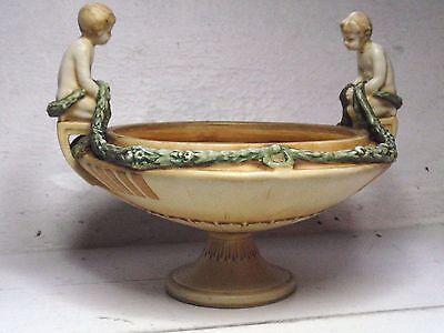 Amphora Austria Art Nouveau Pottery Pot Pourri Fruit Tazza Bowl Boy Putti c 1900