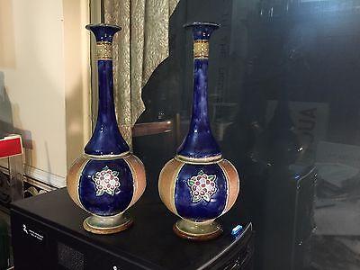 Pair Antique Royal Doulton Stoneware Tall Neck Vases 8332 Eb Ebay