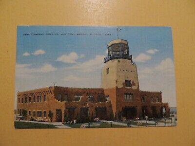 Municipal Airport El Paso Texas vintage linen postcard terminal building 1946 Municipal Airport Terminal