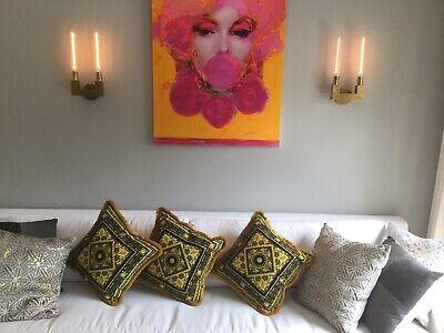 Set Of 3 Costom Made Velvet Gold Black Versace Pillow Carre Print With Fringe