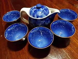 Blue tea set with teapot and 5 teacups, new in original box Denistone Ryde Area Preview