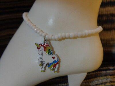 UNICORN emamel charm ankle bracelet beads anklet stretchy Horse rainbow