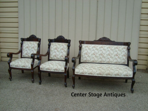 59279 Antique Empire  Mahogany   Figural Sofa Loveseat w/ 2 Chair s  QUALITY