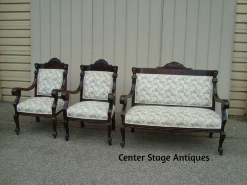 59279 Antique Empire Mahogany Figural 3 PC Parlor Set Sofa Loveseat w/2 Chair s