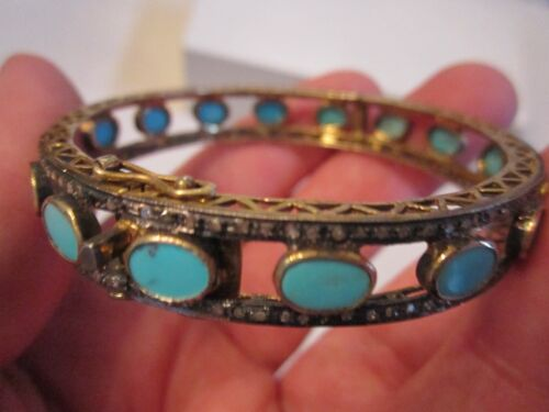 VINTAGE STERLING SILVER & TURQUOISE BRACELET WITH CRYSTALS - SC-10