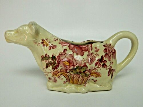 Charlotte Royal Crownford Staffordshire England Cow Creamer Red Ironstone 1074