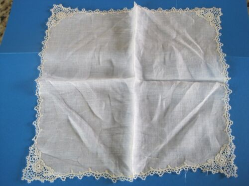 Wedding Handkerchief Lace Border Rosettes Antique 11.5""