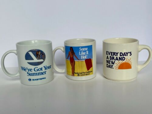 Lot of 3 Vintage EASTERN AIRLINES Collection of Coffee Mugs EAL ✈️RARE