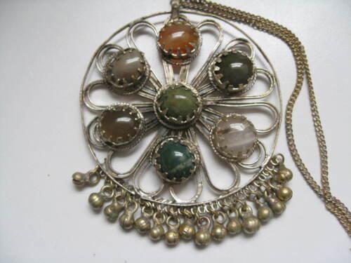 Older Vintage MIDDLE EASTERN Silver Tone Natural Stones Huge Necklace