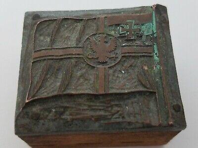 Antique Printer Press Wood Metal Stamp Spread Eagle Wmaltese Cross