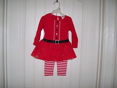 YOUNGLAND BABY GIRLS SANTA SUIT DRESS & LEGGING SET SIZE 18 MONTHS - Girls Santa Suit