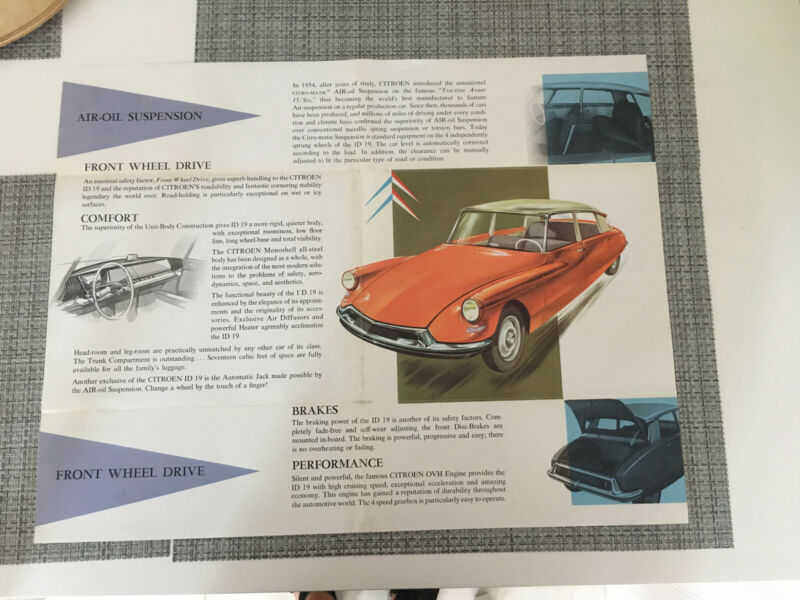 1954 Citroen ID19 Brochure Poster Hydropneumatic