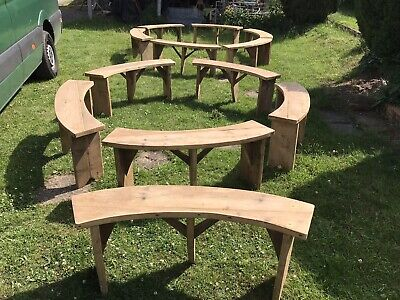 1 X 4ft Curved Garden Bench BBQ Fire-Bowl Social Circle 5yr Treated