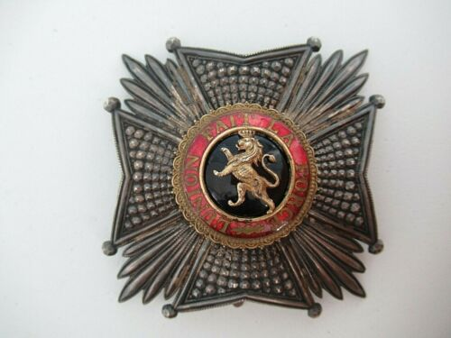BELGIUM ORDER OF LEOPOLD GRAND CROSS BREAST STAR. SILVER & GOLD CENTER. MARKED