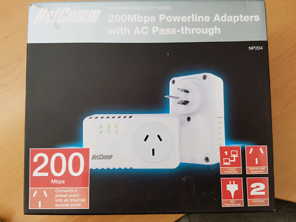 Netcomm 200mbps powerline adapters with A.C. pass-through