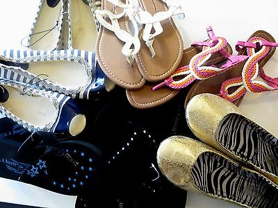 Wholesale Small Lot of 9 prs of Womens Shoes Sandals flats DAMAGED MISMATCH